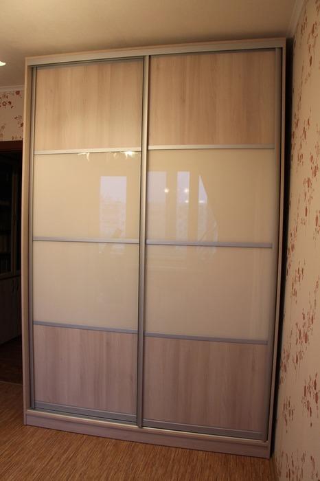Двухдверный шкаф-купе-Шкаф-купе из стекла Лакобель «Модель 21»-фото1