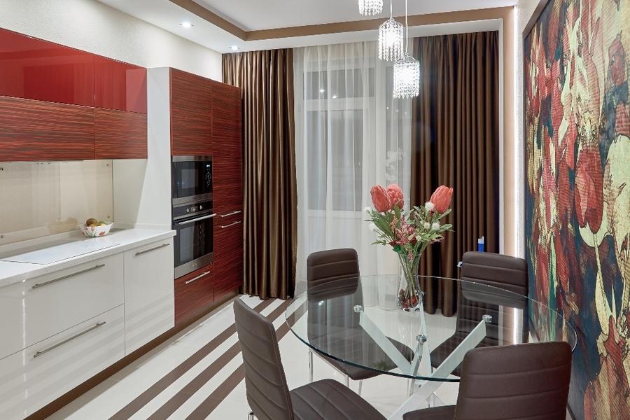 Купить красную кухню-Кухня МДФ в ПВХ «Модель 17»-фото2