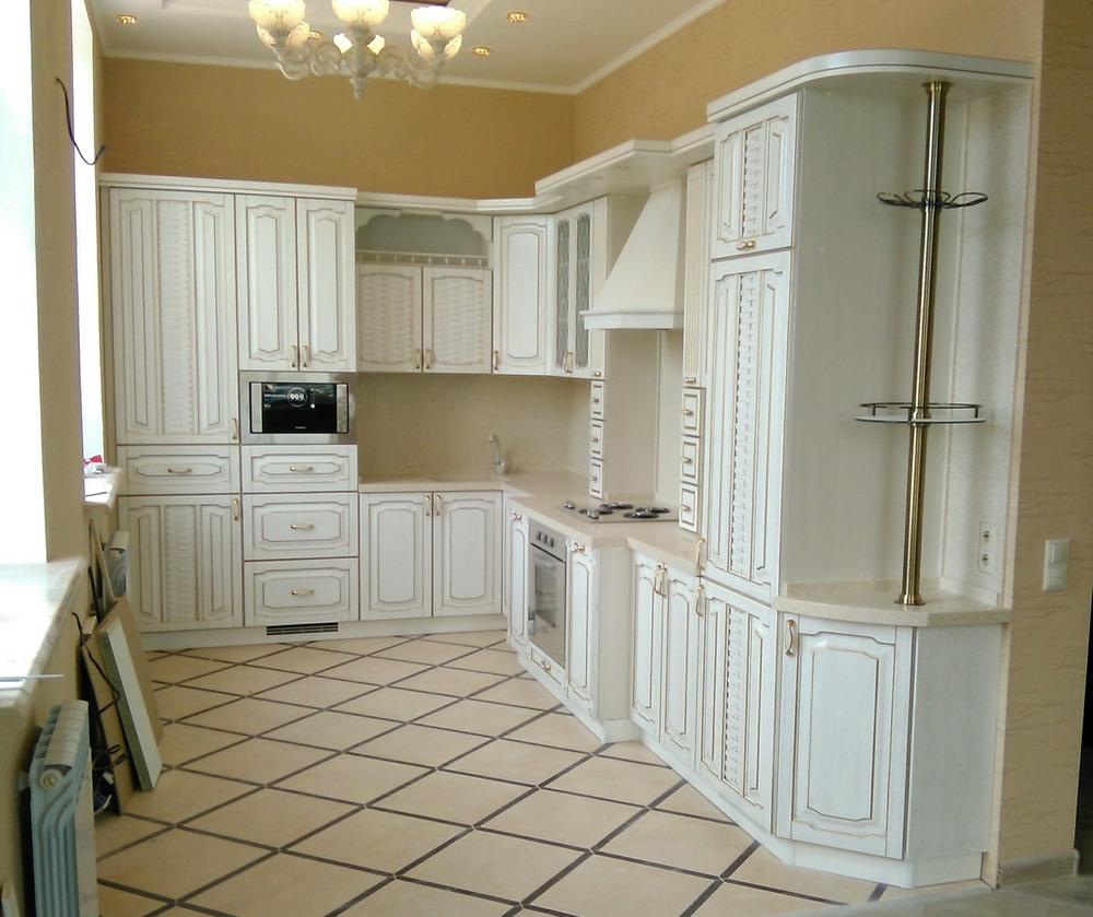 Белый кухонный гарнитур-Кухня из шпона «Модель 341»-фото1