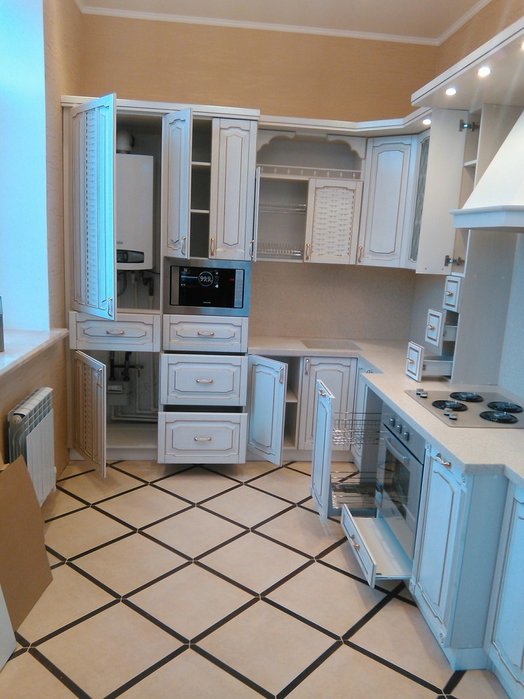 Белый кухонный гарнитур-Кухня из шпона «Модель 341»-фото4