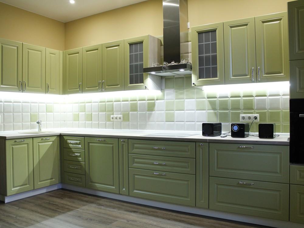 Встроенная кухня-Кухня МДФ в эмали «Модель 123»-фото2