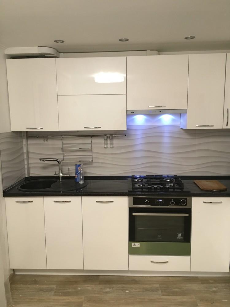 Белый кухонный гарнитур-Кухня МДФ в ПВХ «Модель 311»-фото1