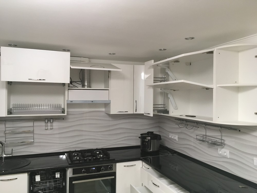 Белый кухонный гарнитур-Кухня МДФ в ПВХ «Модель 311»-фото9