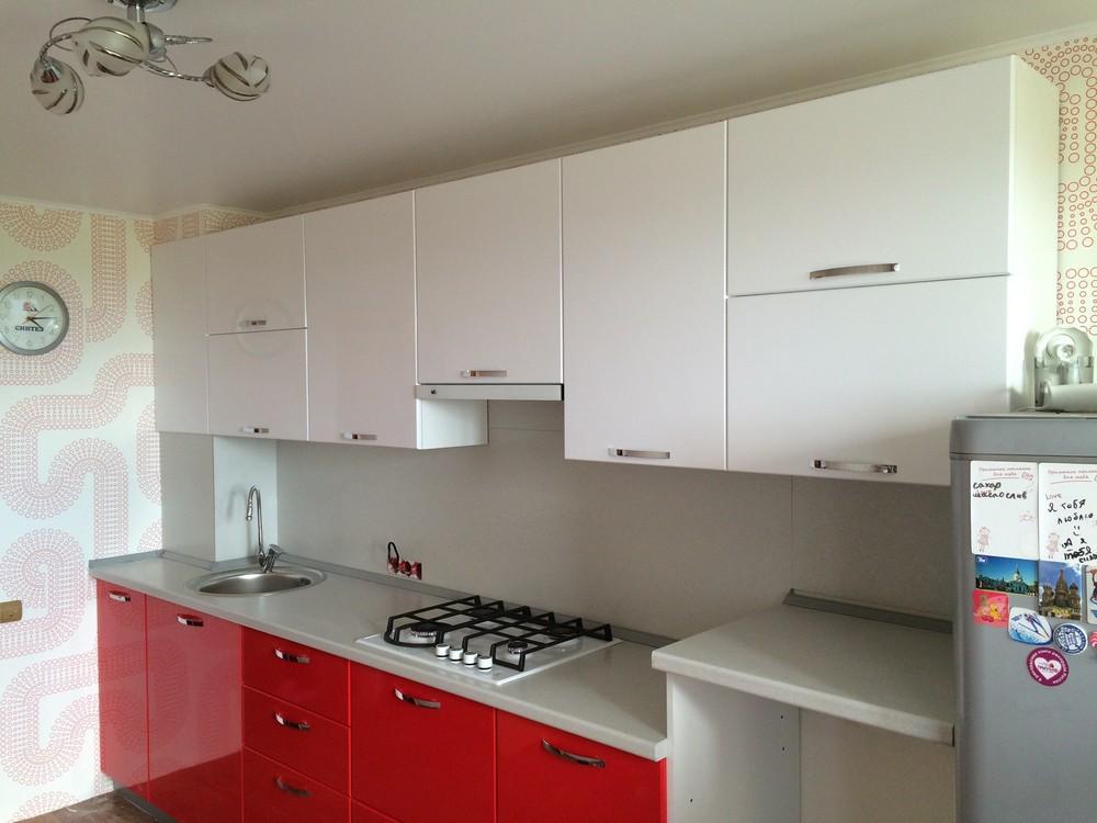 Белый кухонный гарнитур-Кухня МДФ в эмали «Модель 312»-фото1