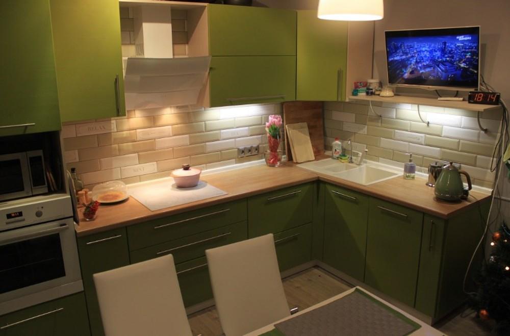 Встроенная кухня-Кухня МДФ в ПВХ «Модель 221»-фото1