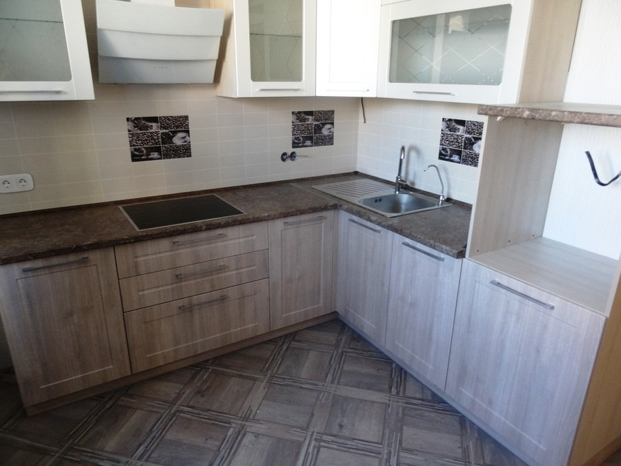 Белый кухонный гарнитур-Кухня МДФ в ПВХ «Модель 514»-фото2