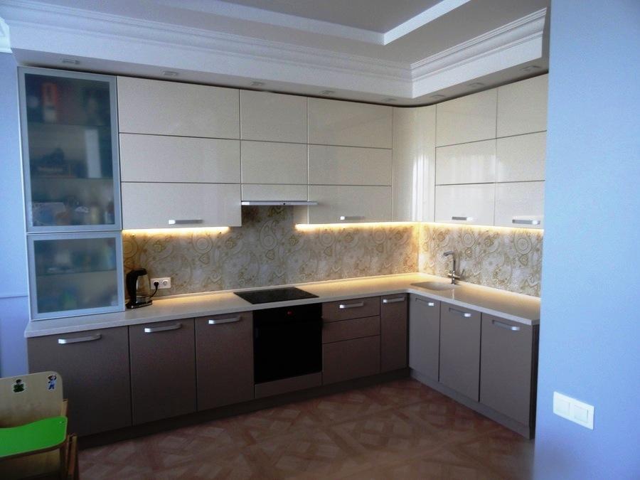 Встроенная кухня-Кухня МДФ в ПВХ «Модель 484»-фото1