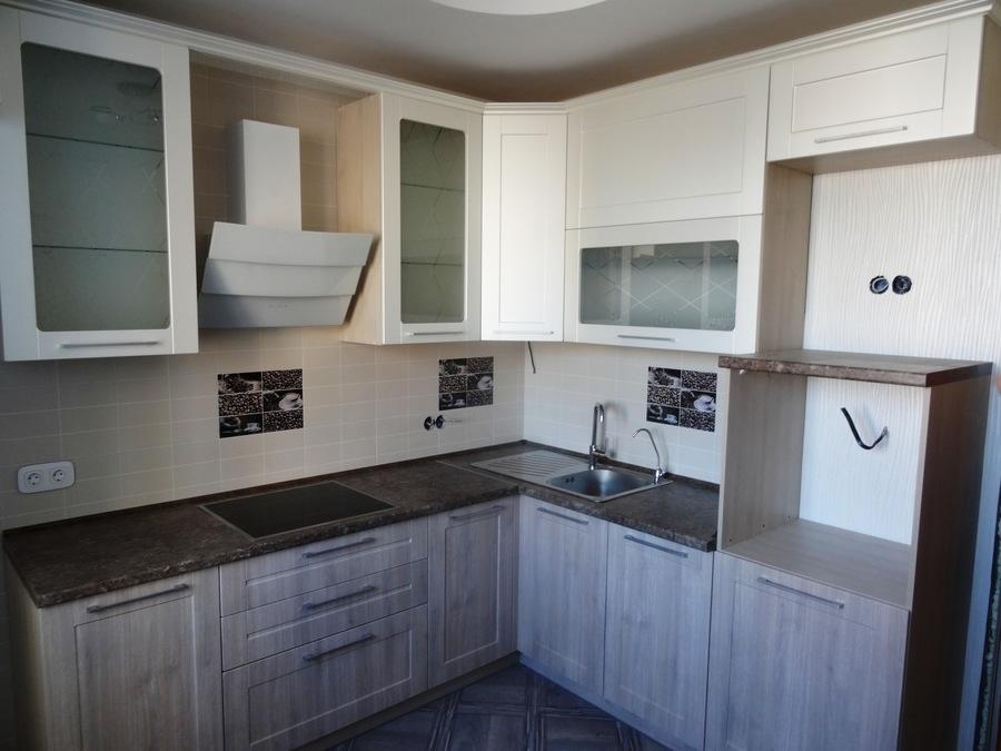 Белый кухонный гарнитур-Кухня МДФ в ПВХ «Модель 514»-фото1