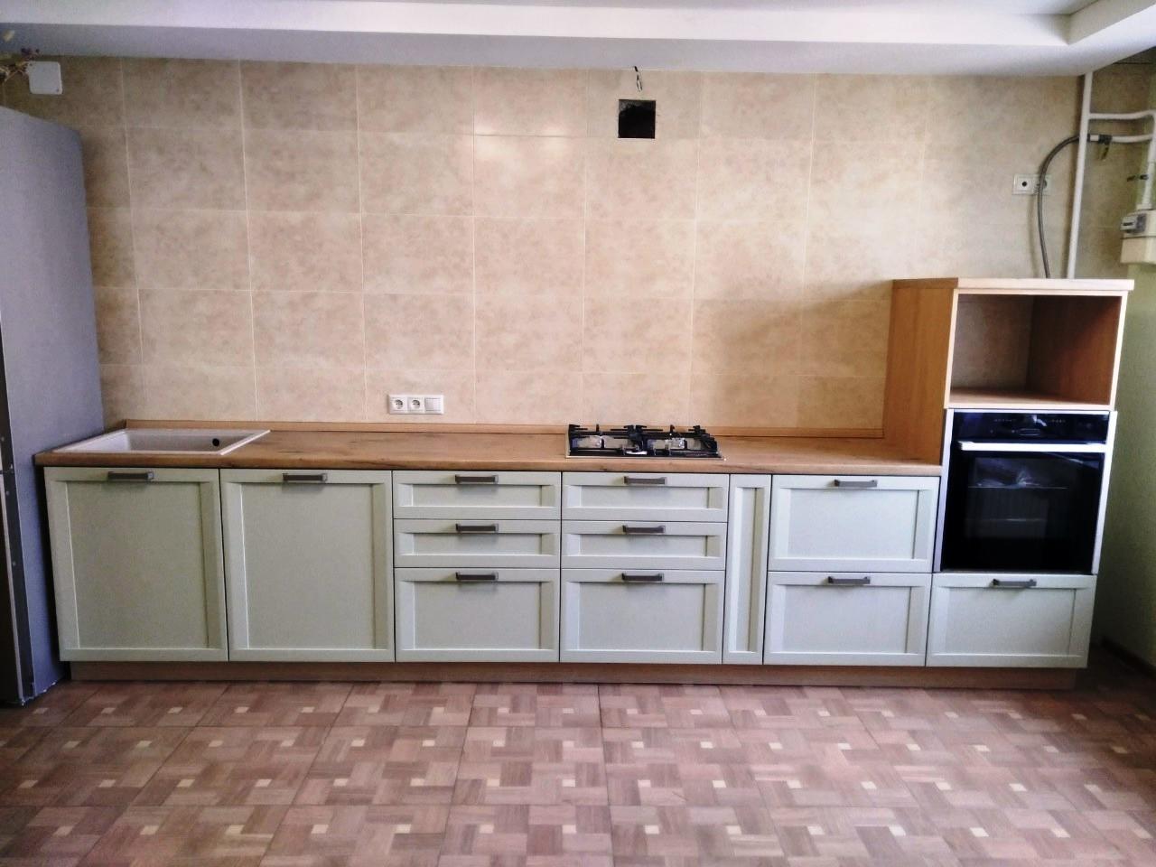 Белый кухонный гарнитур-Кухня из шпона «Модель 537»-фото3
