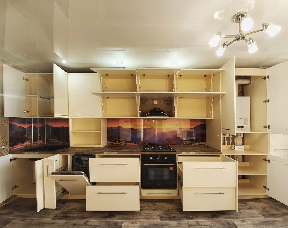 Белый кухонный гарнитур-Кухня МДФ в эмали «Модель 542»-фото4