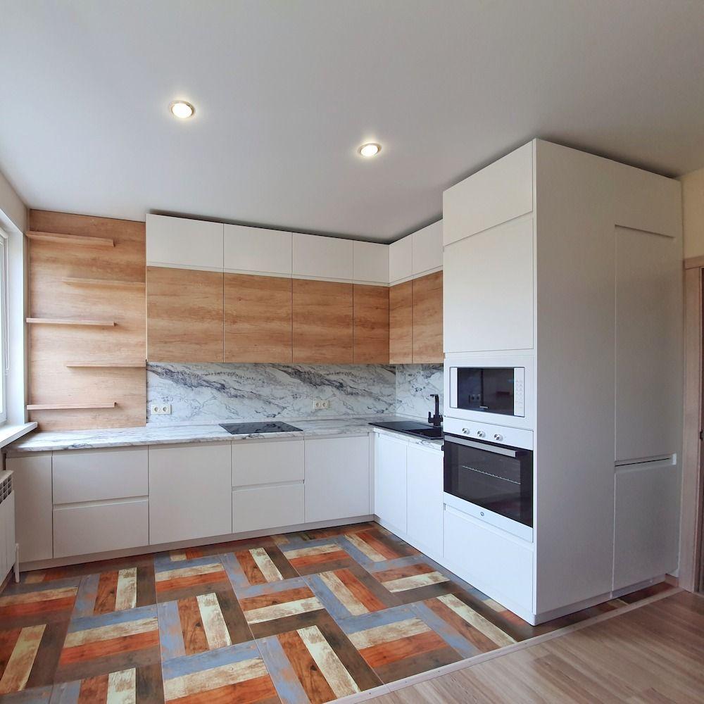 Белый кухонный гарнитур-Кухня МДФ в эмали «Модель 526»-фото1