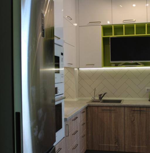 Акриловые кухни-Кухня МДФ в ПВХ «Модель 77»-фото7