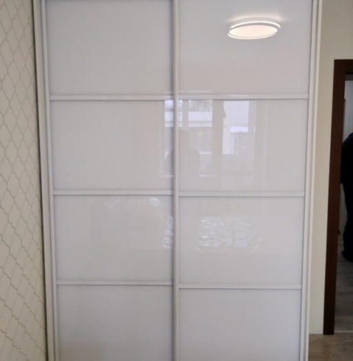 Белые шкафы-купе-Шкаф-купе из стекла Лакобель «Модель 414»-фото5