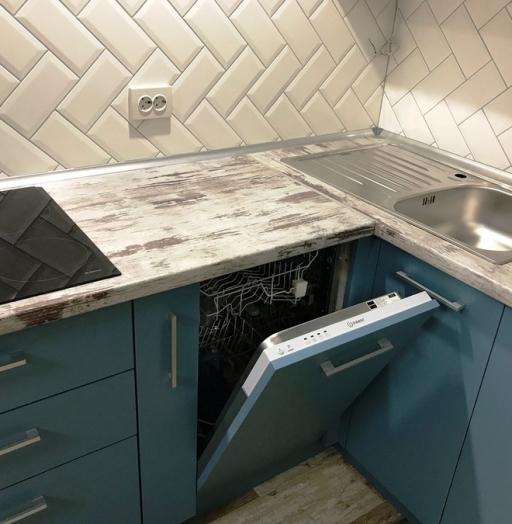 Комбинированные кухни-Кухня из пластика «Модель 373»-фото5
