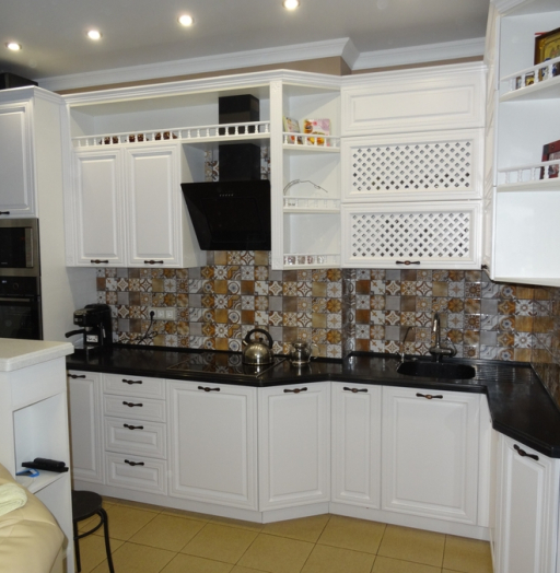 Белый кухонный гарнитур-Кухня МДФ в эмали «Модель 20»-фото9