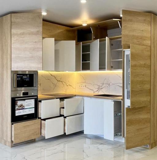 Белый кухонный гарнитур-Кухня из пластика «Модель 682»-фото9